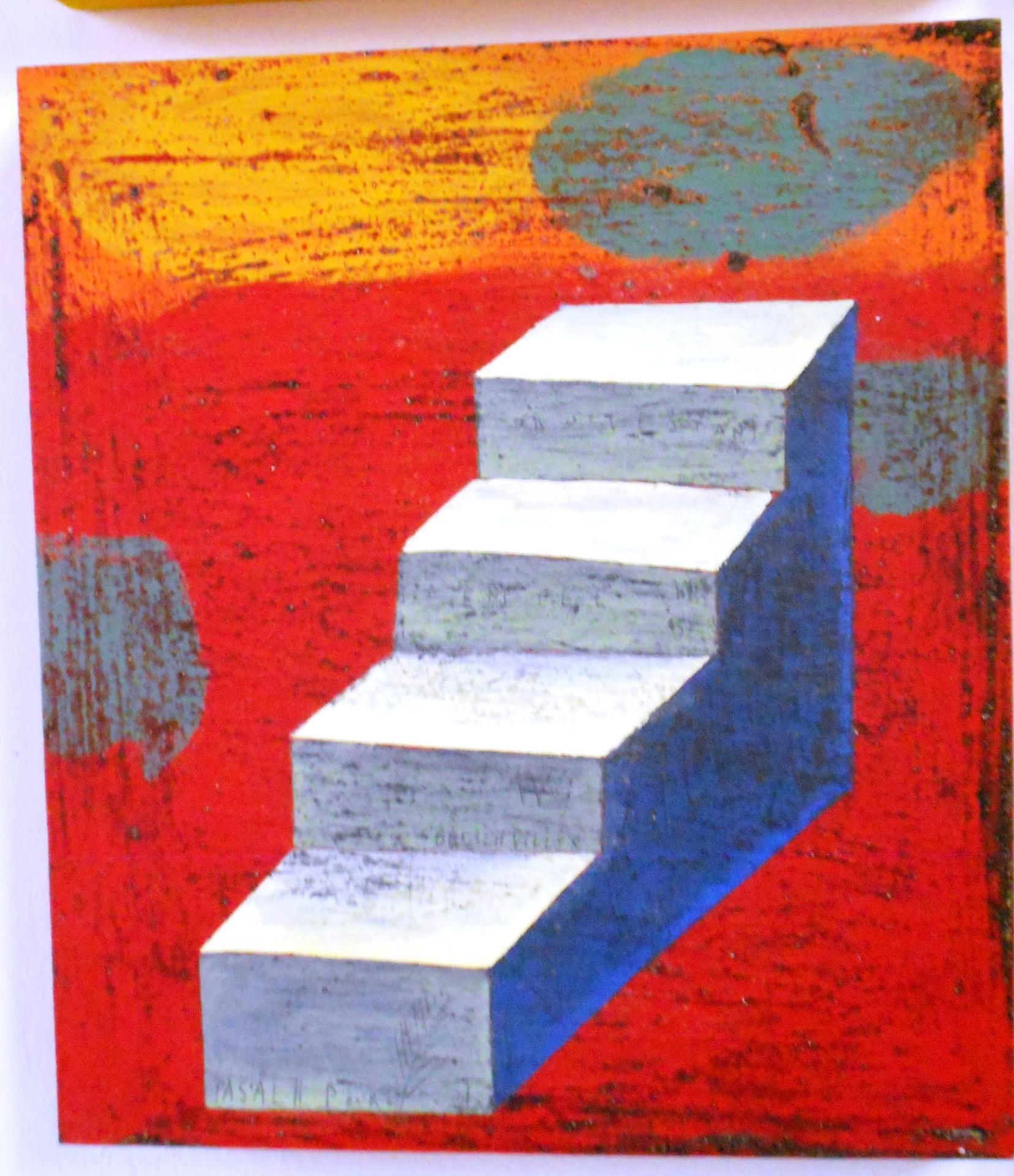 Escalier bleu fond rouge
