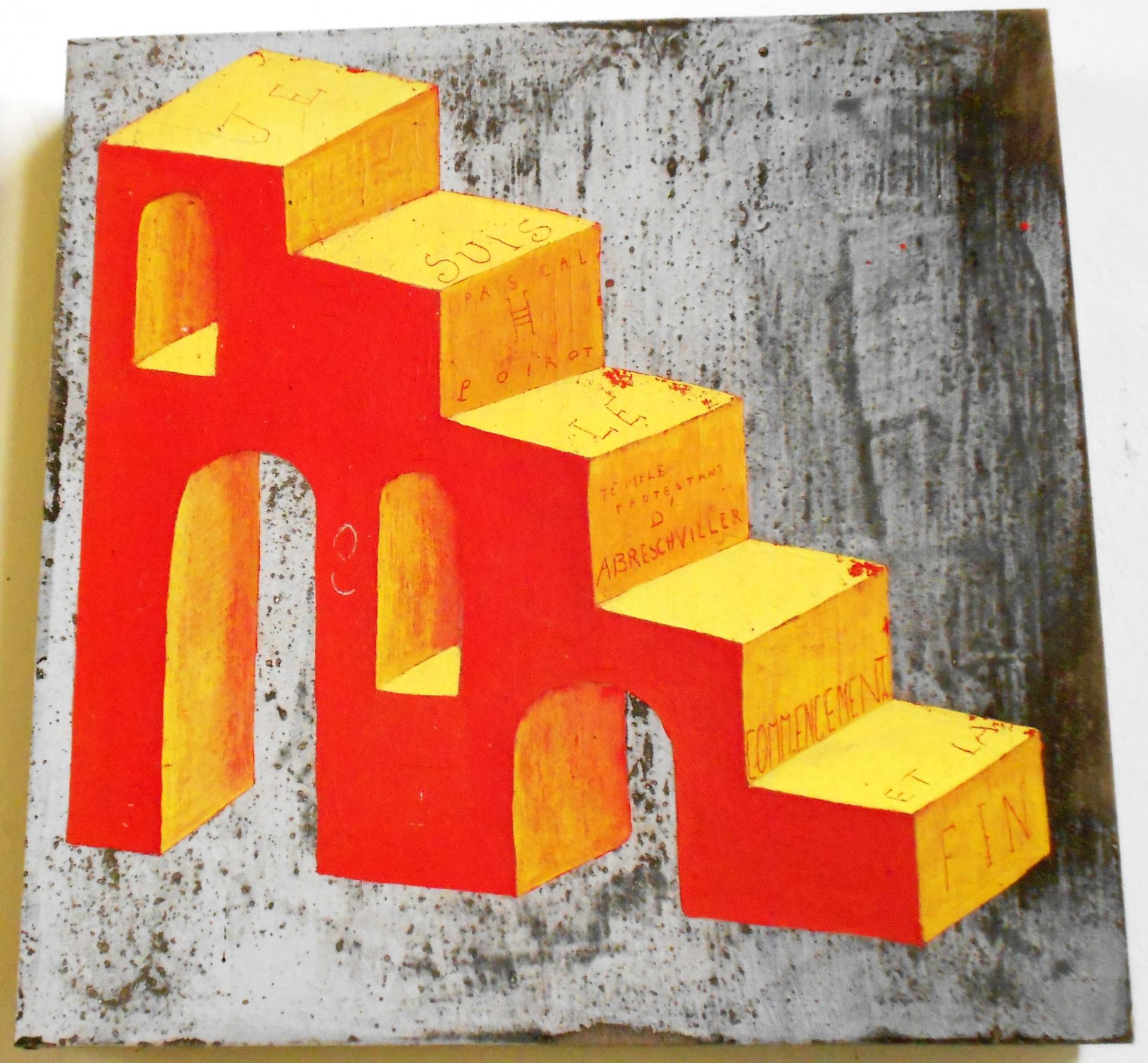 Escalier rouge et jaune